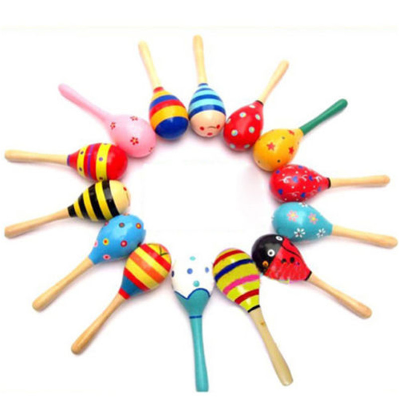 2017 Percussion Musical Instrument Rattle Sand Hammer Baby Kid Mini Wooden Ball Toy Nice Gifts