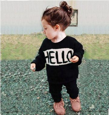 2017 New Baby Boys/Girls Knitted Sweater HELLO Cotton Sweater Kids Clothes Children Free Knitted Sweater Patterns Infant Clothes