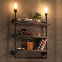 Loft Nordic wrought iron retro bar bedroom restaurant bar three story solid wood bookshelf pipe wall lamp