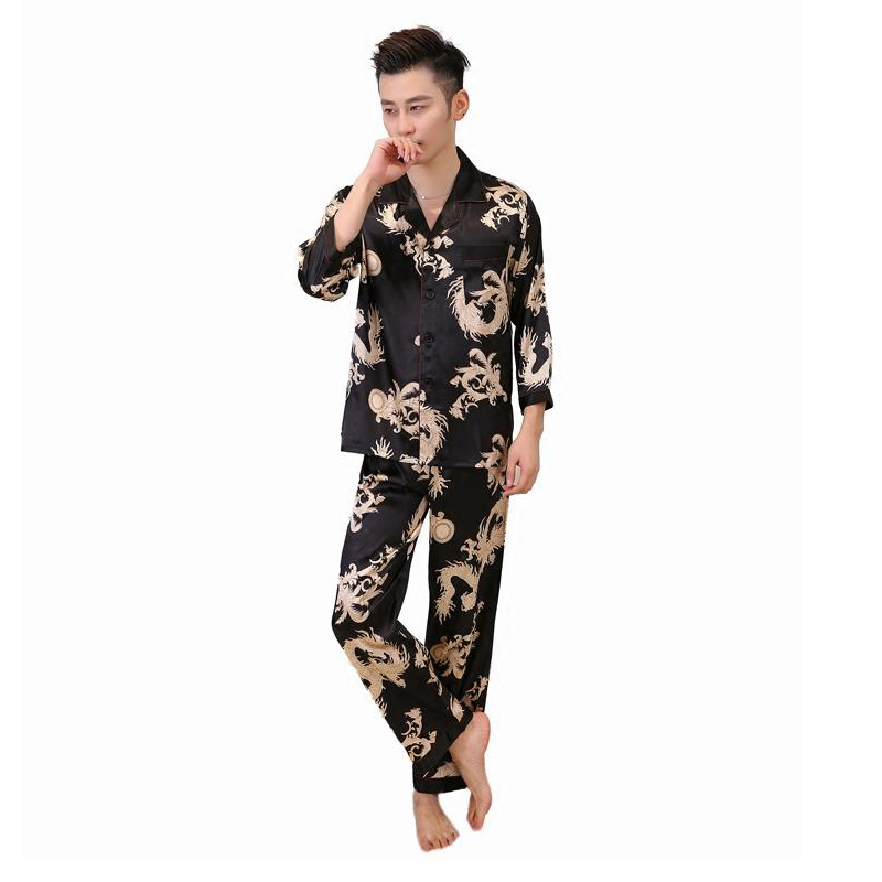 Casual Sleepwear Chinese Style Print Dragon Pyjamas Set Men 2PCS Long Sleeve Shirt&Pant Pajamas Rayon Bathrobe L XL XXL
