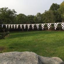 9 м длинные клетчатые черно-белые Вымпел гирлянда с флажками Праздничное оформление