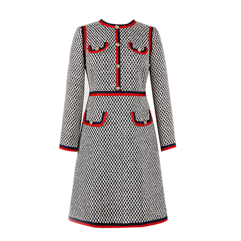 Kate Middleton Dress Red Trims Black And White Tweed Sheath Dress Buttoned Pockets Autumn Spring Women 2018 Mini Bodycon Dress
