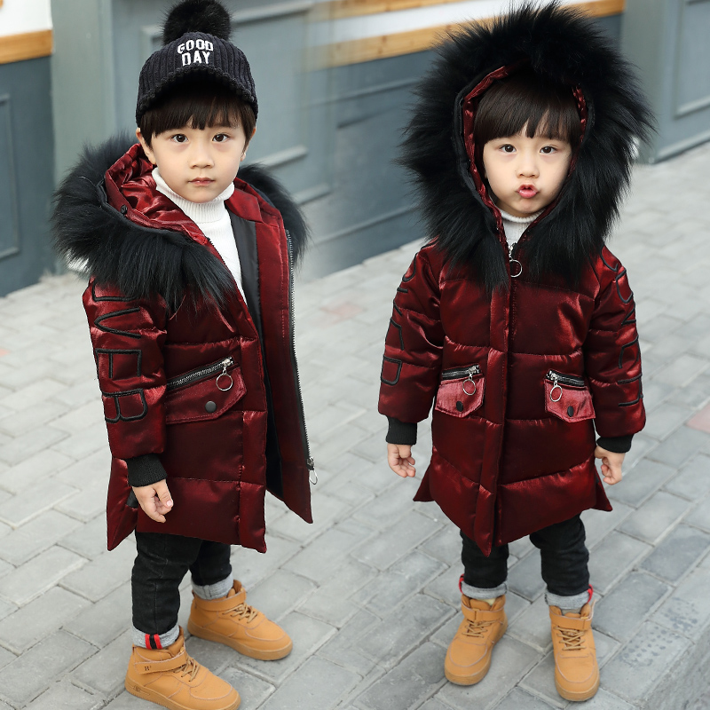 2-9 years boys winter Coat hooded kids children's parkas Warm winter clothing Real fur collar Thicken long coat Snow suit недорго, оригинальная цена