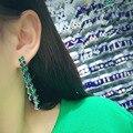 2017 Hot AAA Cubic Zircon Surround Stud Earrings Silver Rhinestone Waterdrop Tassel Earring brincos For Women GLE5489