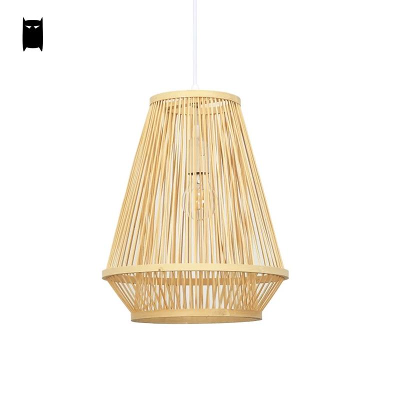 Bamboo Wicker Rattan Cage Shade Pendant Light Fixture Asian Japanese Tatami Hanging Ceiling Lamp Dining Table Tea Room Hallway