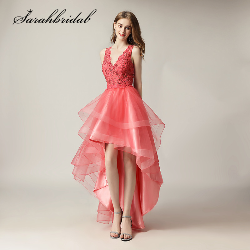 High Low Lace Prom Dresses Cheap Short Coral V Neck Sexy Backless