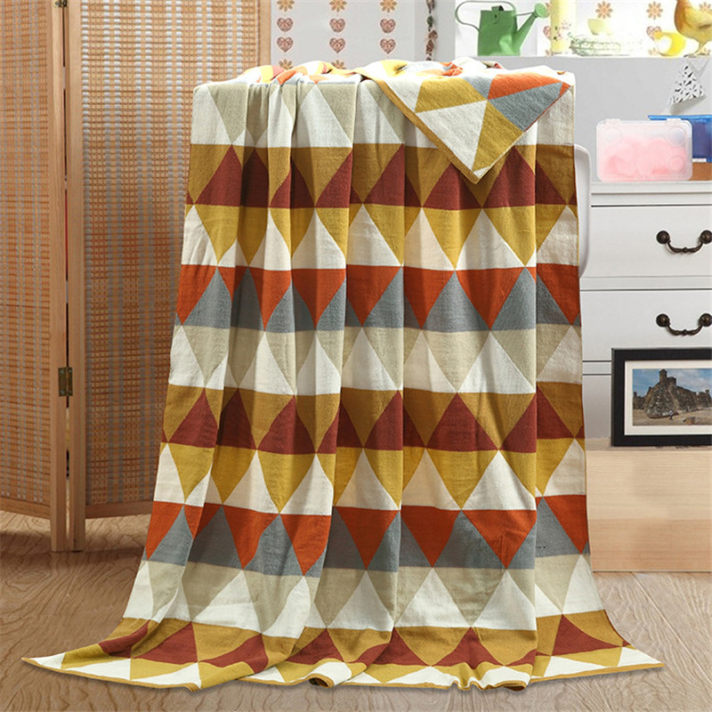 ФОТО Les Baoyi 1-Piece Cotton Blanket Solid Color Plaid Throw Blanket Sofa Bed Queen Size Machine Washable 150*180cm