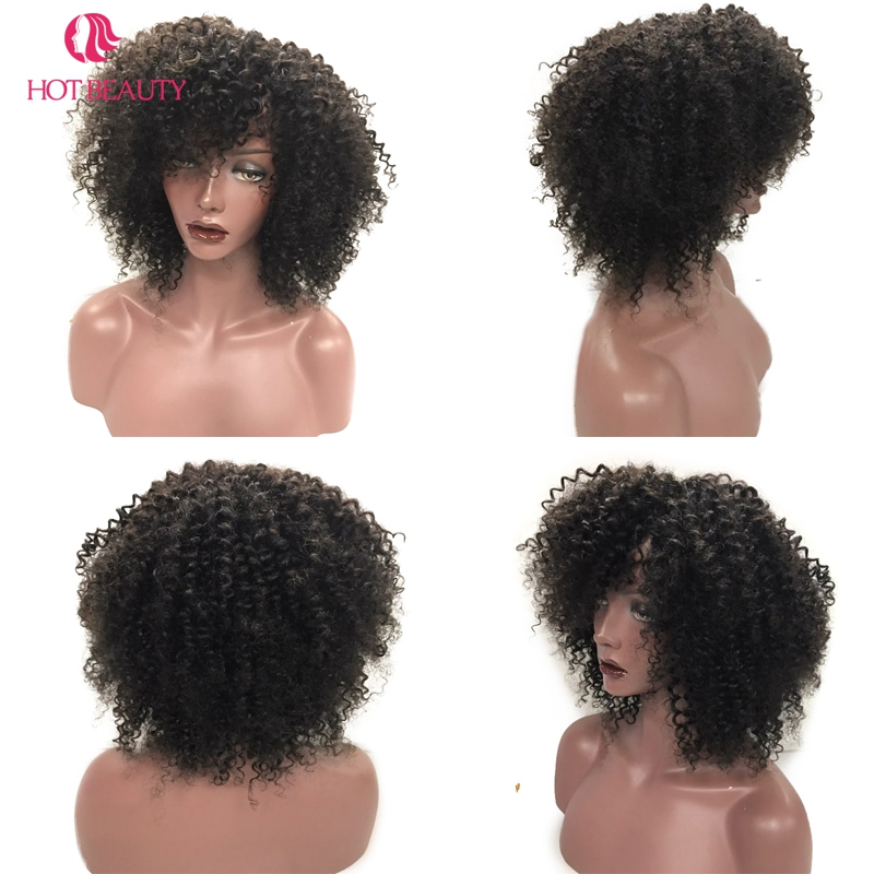 Hot Beauty Hair Peruvian Kinky Curly Kort Paryk 8 '' 10 '' Kan Farves - Menneskehår (sort) - Foto 4