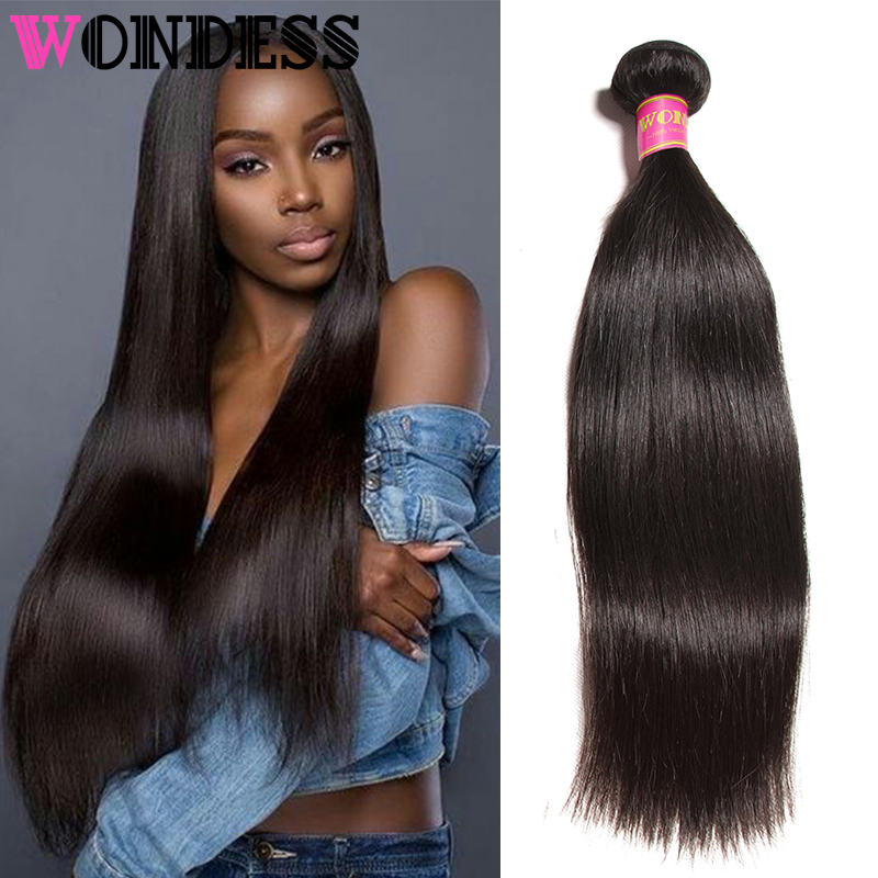 Wondess Raw Indian Hair Straight Hair Bundles 1 PCS Unprocessed Virgin Hair Bundles 8-30inch Human Hair Extension Natural Color