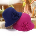 Women Vintage Imitation Wool Flower Felt Hat Winter Cloche Bucket Cap Attractive Design