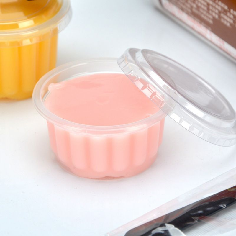 50Pcs Disposable Cups Set Of 150ml Sauce Pot Rippled Container Jello Shot Cup Slime Storage With Lid For Ketchup