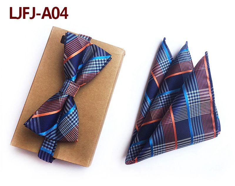 Мужской модный галстук набор полиэфирных шелковых галстуков наборы из двух частей жаккардовые галстуки для мужчин галстук носовой платок галстук-бабочка - Цвет: LJFJ-A04