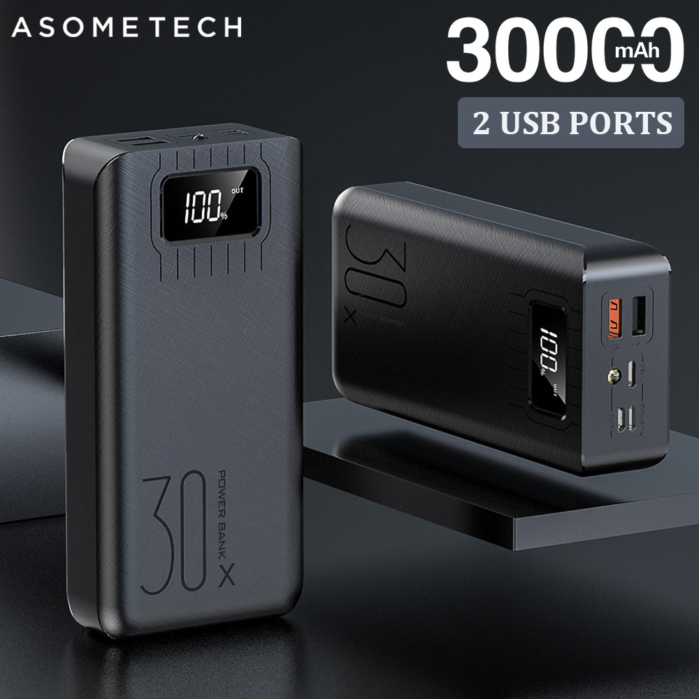 2USB LED Power Bank 30000mAh Portable Charging Powerbank For iPhone Xiaomi Samsung Huawei Poverbank Pack Charge