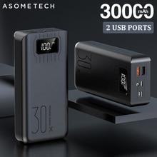 2USB LED Power Bank 30000mAh Portable Charging Powerbank For iPhone Xiaomi Samsung Huawei Poverbank