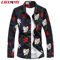 LONMMY M 5XL Floral Shirts Men Camisa Social Mens Long Sleeve Shirt Dress Flower Slim Fit