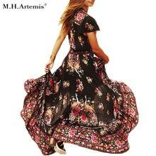 М. h. артемида Для женщин Boho Этнические народные с эластичным поясом Для женщин ретро Винтаж Vestidos чешские Hippie платье халат vestidos mujer