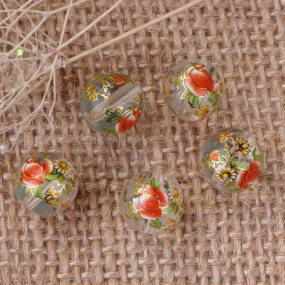 DoreenBeads Glass Japan Painting Vintage Japanese Tensha Beads Ball Transparent Clear Rose Flower Pattern About 10mm Dia,5 PCs
