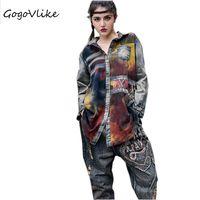 Punk Gradient Color Jean Tops Long Sleeve 2017 Autumn Women Casual Shirt Feminino Blouse Blusa Rock
