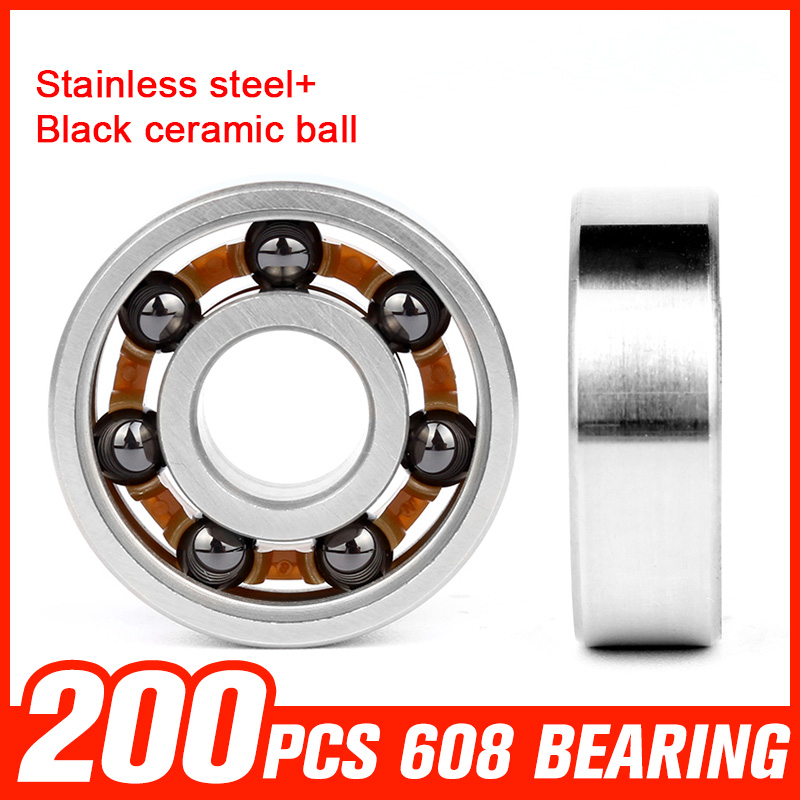 200pcs 608 Bearings Black Ceramic Ball 608 Stainless Steel Bearing for Matel Hand Spinner Roating Roller Hardware Accessories 150pcs 608 bearings black ceramic ball 608 stainless steel bearing for high speed fidget spinner skating roller toy accessories