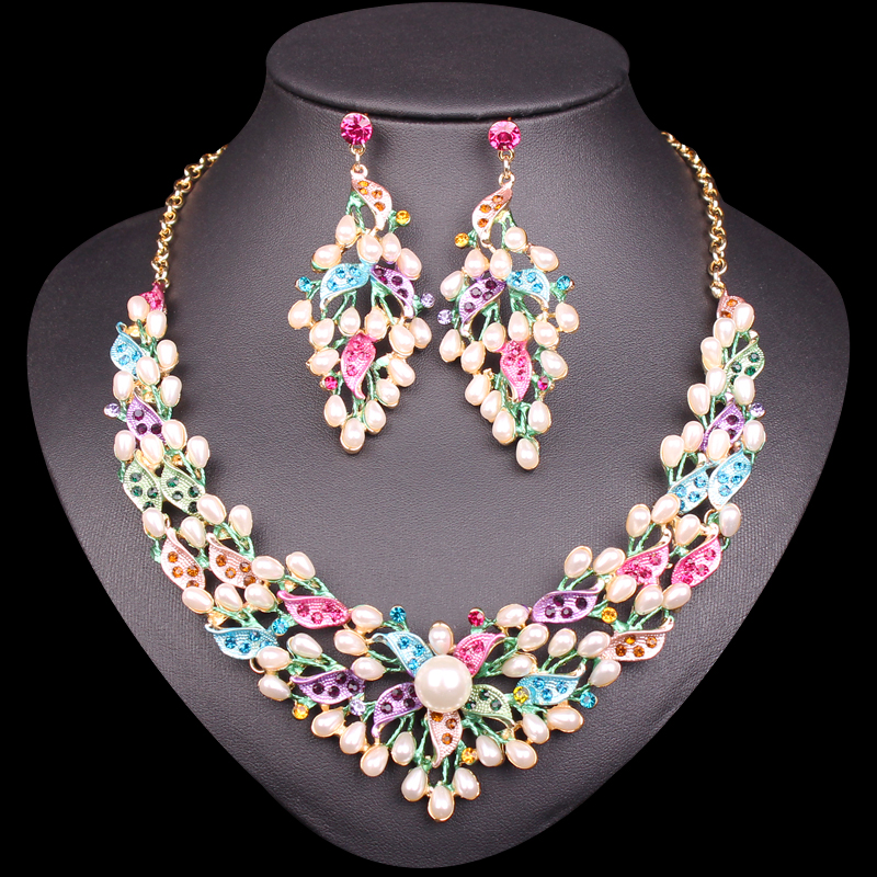 Us 11 93 23 Off New Bridal Jewelry Sets Wedding Necklace Earrings Gold Color Imitation Pearl Costume Jewellery For Brides Women Gifts In