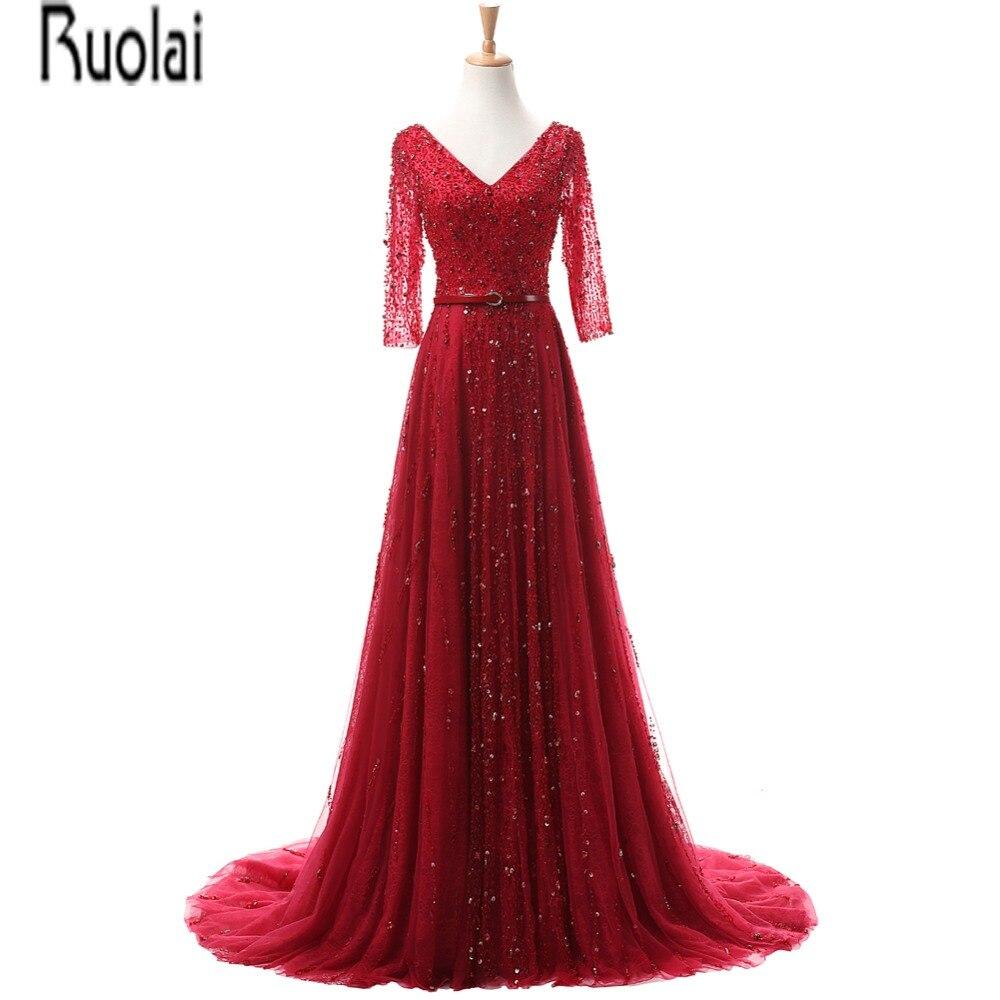 Réel échantillon nouveauté luxe rouge Tulle cristal perles une ligne trois quarts manches col en V Sexy robes de soirée pour la fête