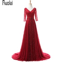 Real Sample New Arrival Luxury Red Tulle Crystal Beading A Line Three Quarter Sleeves V Neck Sexy Evening Dresses For Party