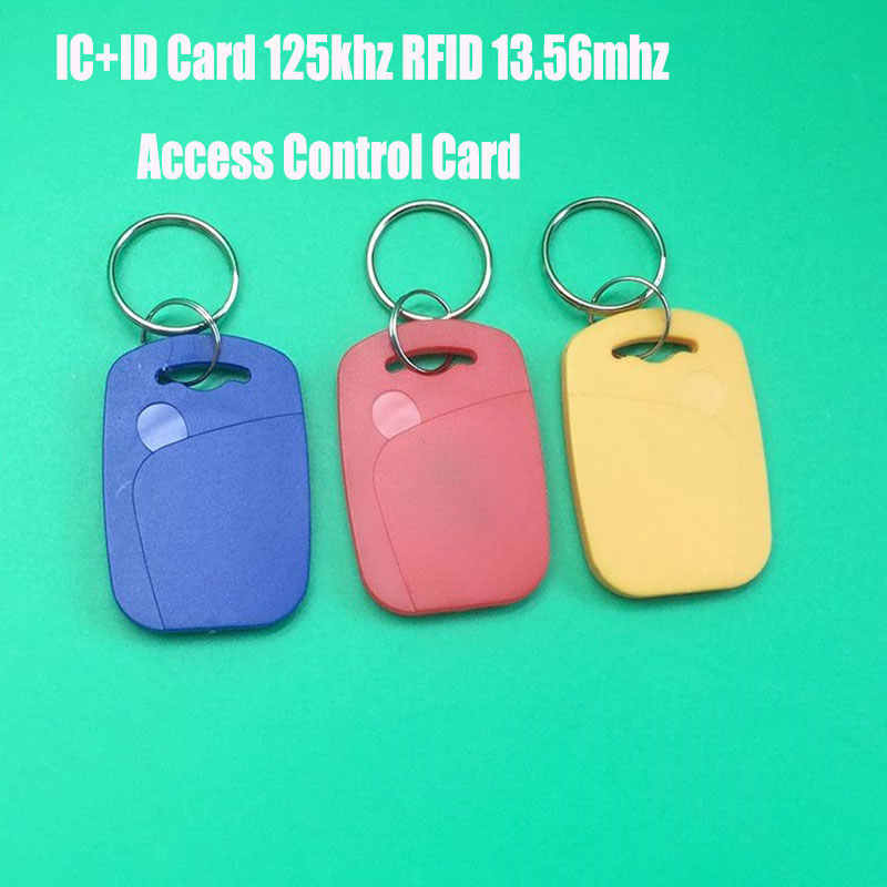 IC + ID Dual RFID/NFC Keyfobs EM4100 & FM11RF08 S50 RFID และ NFC COMPOSITE CARD 125 KHz RFID 13.56 MHz NFC Key Tag Access Control CARD