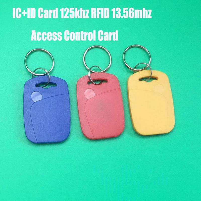 IC+ID Dual RFID/NFC Keyfobs EM4100&FM11RF08 S50 RFID&NFC Composite Card 125khz RFID 13.56mhz NFC Key Tag Access Control Card