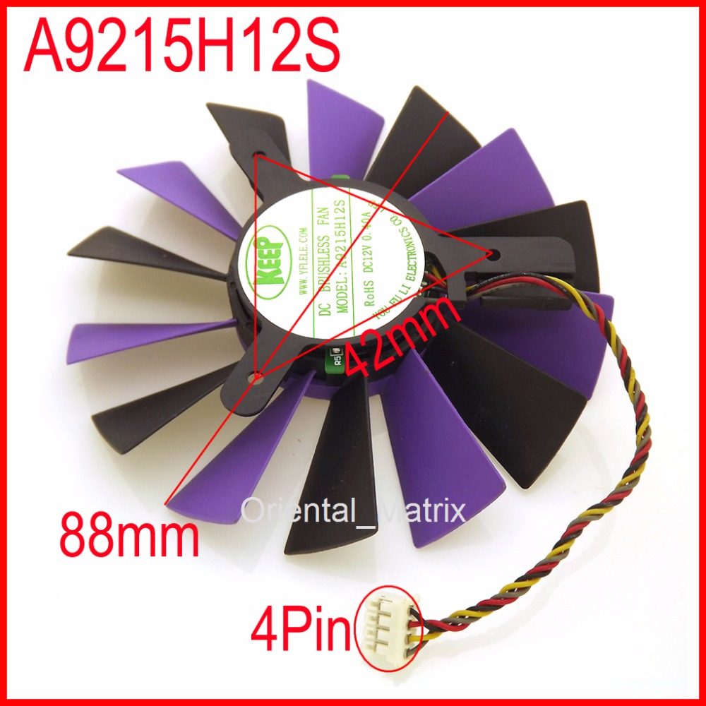 Free Shipping A9215H12S DC12V 0.40A 88mm 42x42x42mm Fan 4Pin For Calibre Unicorn X240 SPARKLE GT240 Graphics Card Cooling Fan free shipping t128015su msi r4770 hd4770 4pin pwn graphics card fan