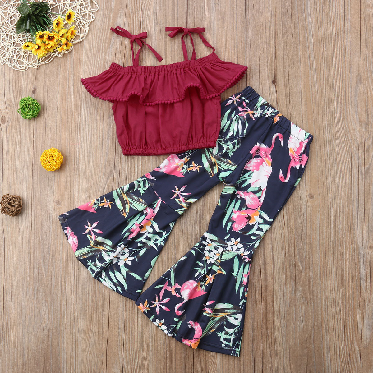 2PCS Kid Baby Girl Casual Party Suit Off Shoulder Tops+Bell-Bottoms Flared Pants