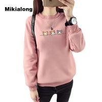Mikialong 2017 Kawaii Harajuku Donne Hoodies Gatto Panno Morbido di Inverno Caldo Coreano Felpa Manica Lunga Pullover Felpa Femminile