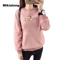 Mikialong 2017 Kawaii Harajuku Frauen Hoodies Katze Sweatshirt Weibliche Winter Warme Fleece Korean Sweatshirt Langarm Jumper