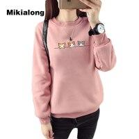 Mikialong 2017 Kawaii Harajuku Women Hoodies Cat Sweatshirt Female Winter Warm Fleece Korean Sweatshirt Long Sleeve