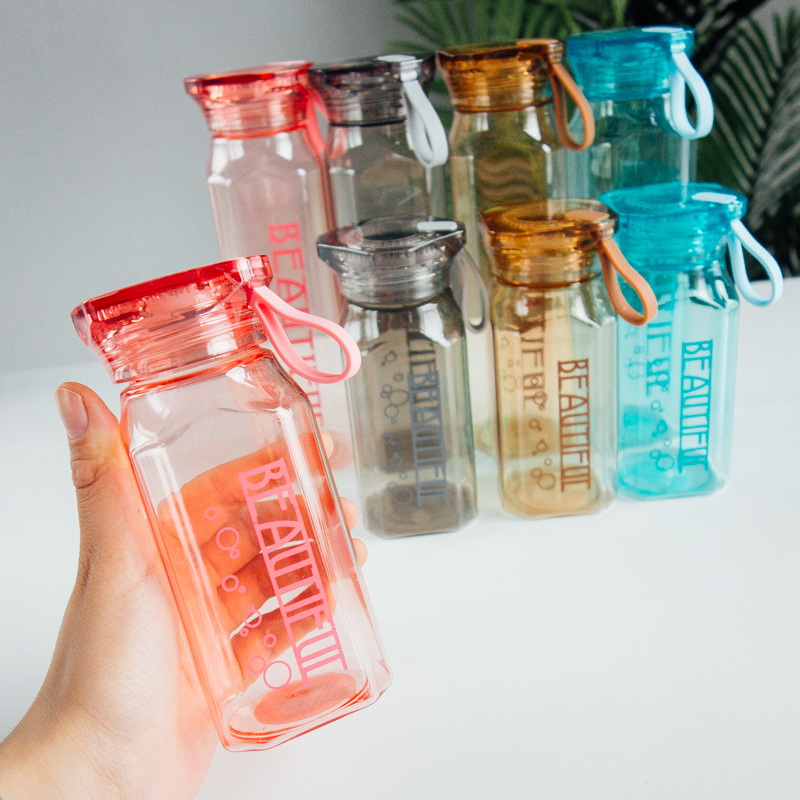 Colorful portable water bottle Leakproof plastic kettle indoor Sports Camping Hiking Drink Bottle Transparent children 39 s kettle in Water Bottles from Home amp Garden