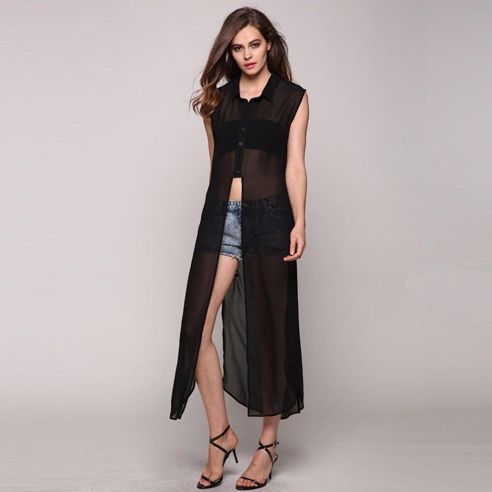 See Through Chiffon Blouse Women Sleeveless Top Blusas Shirt ...