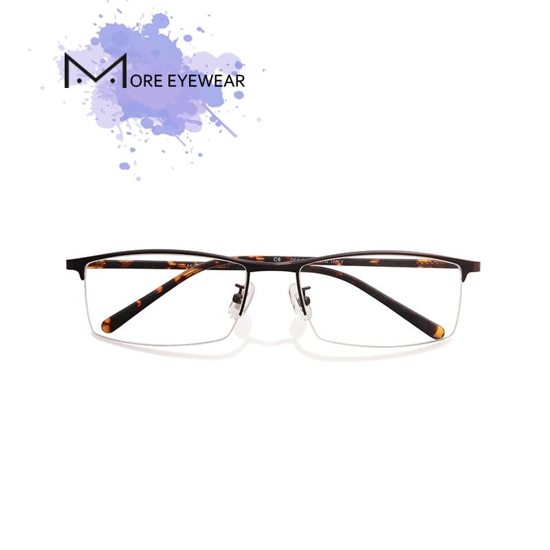 115c09c49a8 Metal Glasses Frame Man Vintage Glasses Male Prescription Glasses With Optical  Lens Rectangle Eyeglasses Semi-