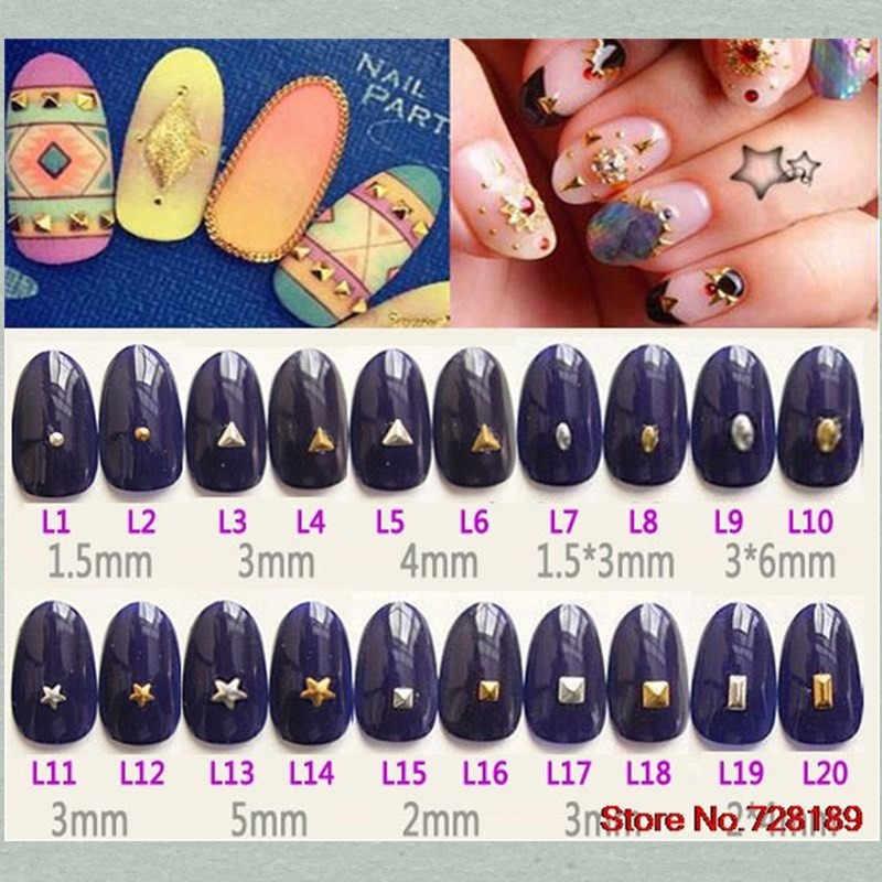 Мини точечные Шпильки для ногтей Квадратные золотые 3D металлические заклепки украшения для ногтей Стразы треугольные серебряные инструменты для ногтей