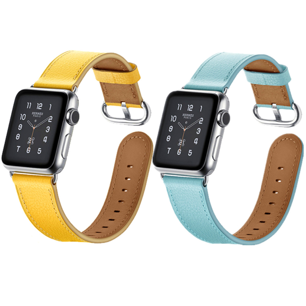 Genuine Leather strap for apple watch Leather band 42mm 38mm iwatch serise 3/2/1 wrist bracelet blet watchband+metal buckle