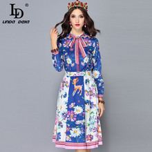 LD LINDA DELLA Fashion Runway 2 Two Pieces Set Women's Long Sleeve Bow Collar Blouses + Floral Print Skirt Sets Suits