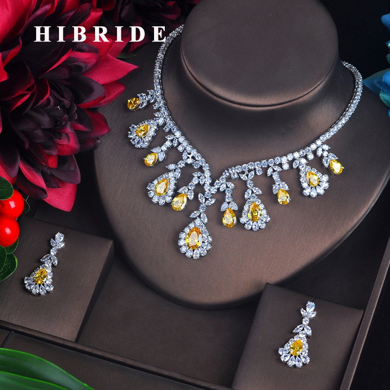 HIBRIDE High Quality White And Red Cubic Zircon Pendant Jewelry Sets White Gold Color Female Jewelry