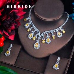 HIBRIDE جودة عالية الأبيض والأحمر مكعب دلاية من حجر الزركون مجموعات مجوهرات الذهب الأبيض-اللون مجوهرات نسائية هدايا الخطوبة N-215