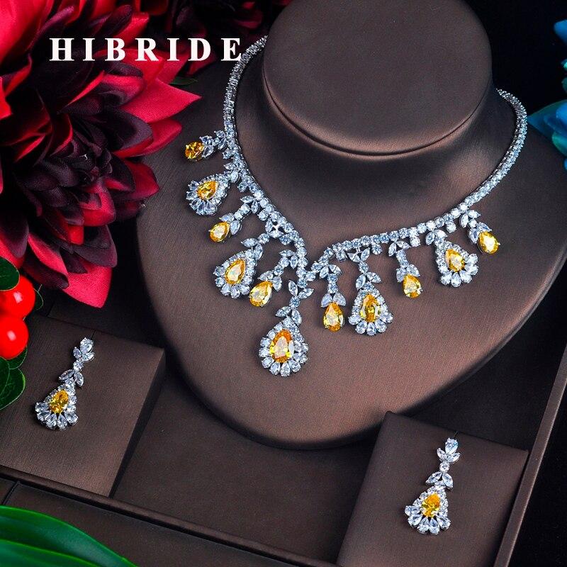 Hibride 고품질 흰색과 빨간색 입방 지르콘 펜던트 쥬얼리 세트 화이트 골드 컬러 여성 쥬얼리 약혼 선물 N 215-에서보석 세트부터 쥬얼리 및 액세서리 의  그룹 1