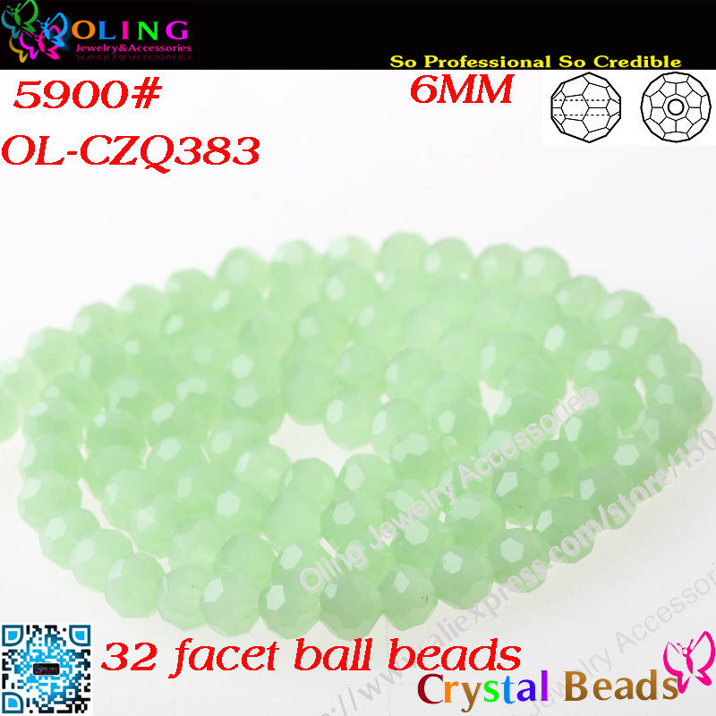 100pcs/Lot Protein green Crystal Glass Faceted Football Beads 6mm Crystal Round Beads For DIY Jewelry Findings