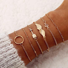 VKME 2019 Ms. Bracelet Vintage Bracelet Set Bohemian Golden Round Arrow Wings Multilayer Chain Bracelet BOHO Jewelry(China)