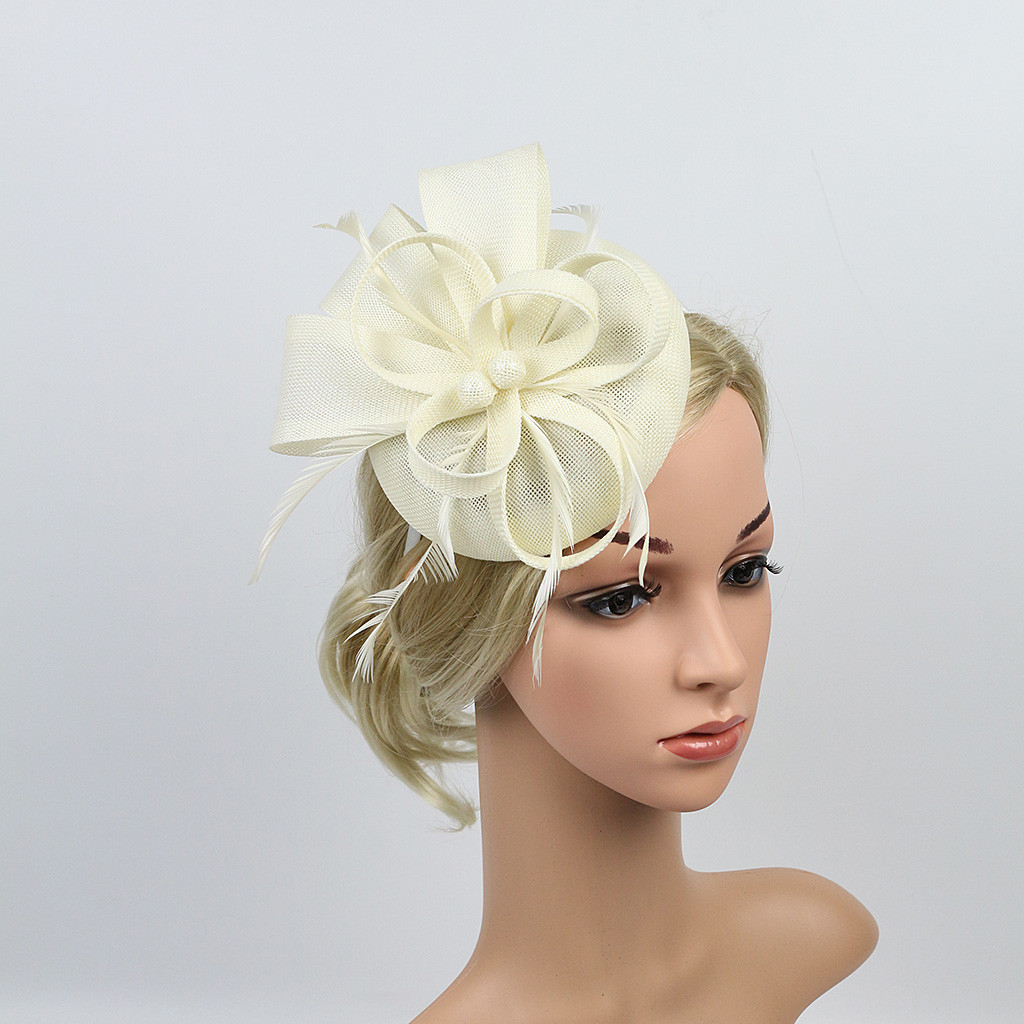 """WEDDING,RACES SMALL 4/"""" ORGANZA AND PEARL FASCINATOR CLIPS"""