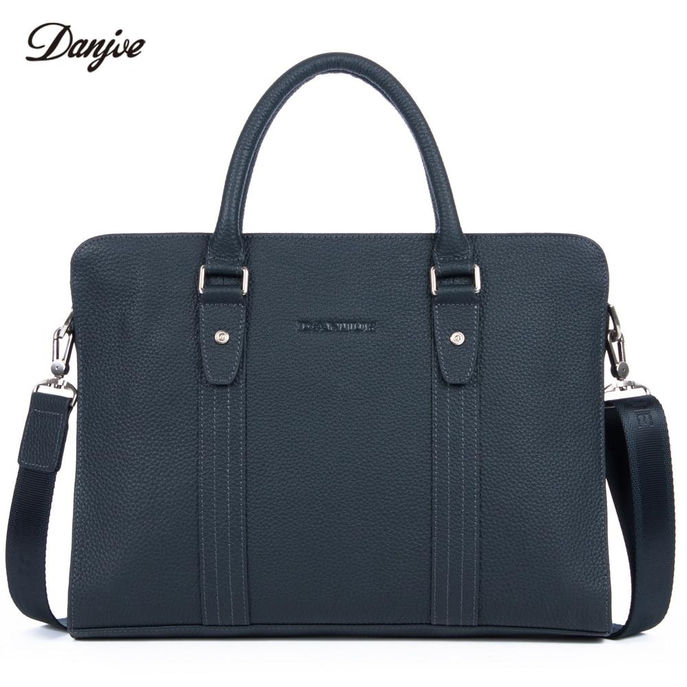 DANJUE Genuine Leather Business Handbag Male Transverse Classic Briefcase Men Trendy Laptop Bag Leisure Messenger Bag Totes недорого
