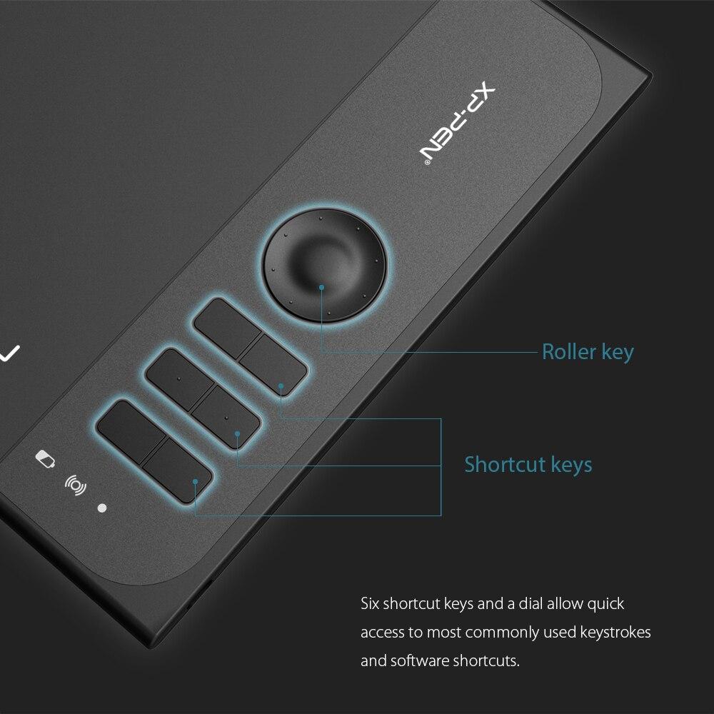 XP-Pen Star 06 tablette de dessin graphique avec sensibilité à la pression de 8192 niveaux conception de Mode filaire et sans fil avec clé à rouleaux - 2