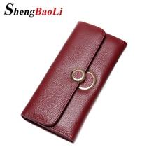 Shengbaoli Genuine Leather Women Wallets Luxury Brand 2017 New Design High Quality Fashion Girls Purse Card Holder Long Clutch