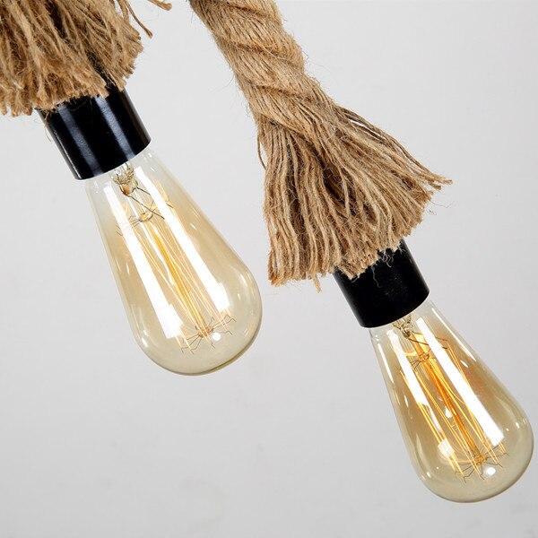 Antigo Pingente Luzes lâmpadas de Longa Corda de cânhamo Industrial Do Vintage Escritório Bar Do Hotel rural Moderna Iluminação LED Mini Lâmpada Do Teto - 4