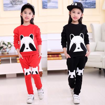 2016 Panda Terno de Esqui do Inverno Da Menina Roupas Criança Espessamento Roupas casacos + Calças Casuais bordado Cashmere Grosso calças 2 pcs